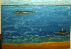 The Island with The Lighthouse-Oil on Canvas